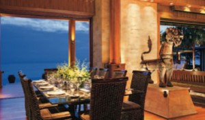 Evening brings a dramatic ambience for dining.